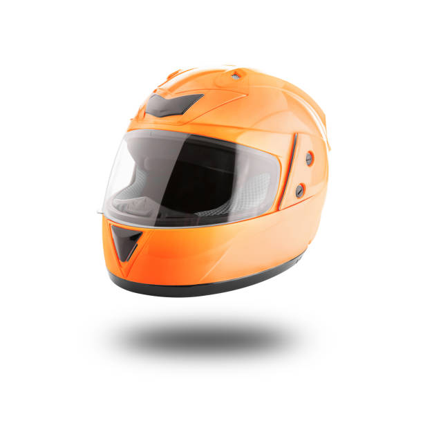 Motorcycle helmet over isolate on white - foto stock