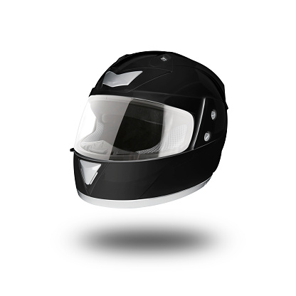 Motorcycle Helmet Over Isolate On White With Clipping Path Stock Photo - Download Image Now