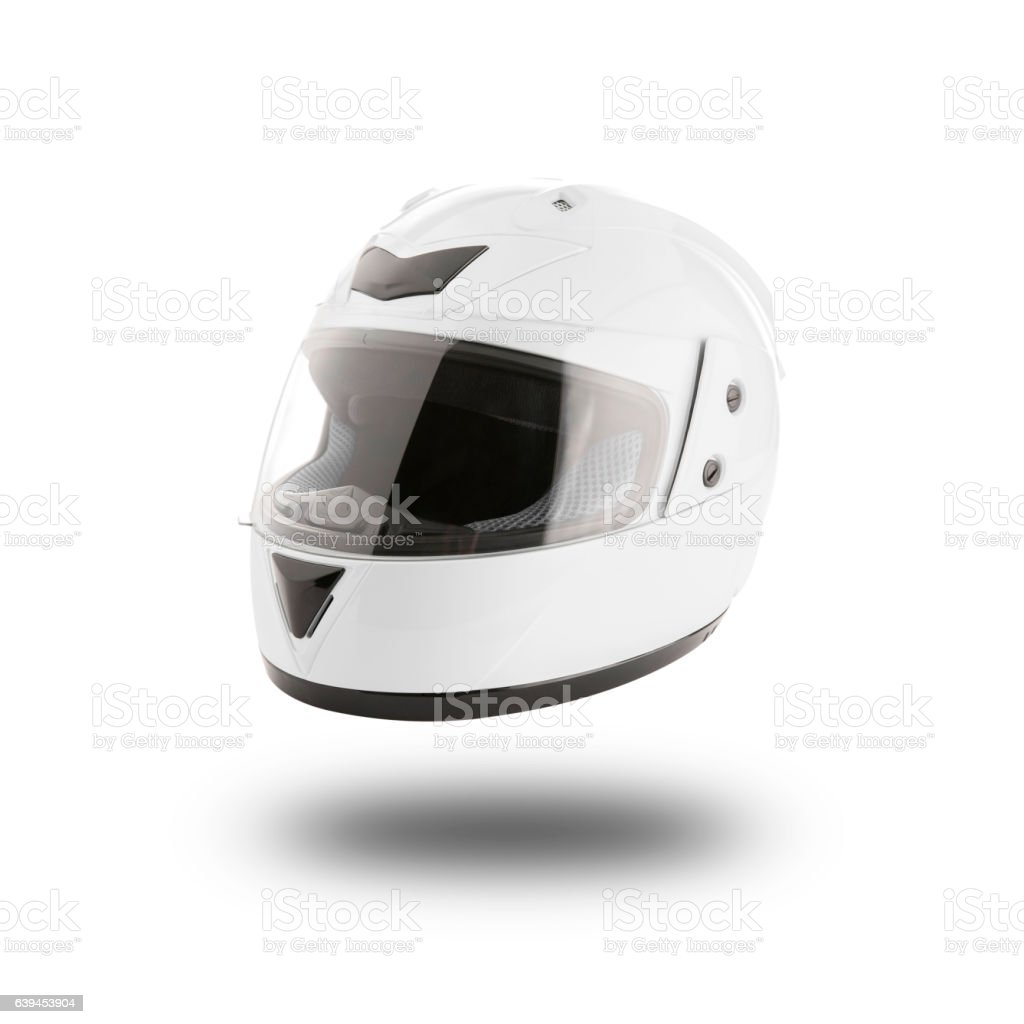 Motorcycle helmet over isolate on white with clipping path stock photo