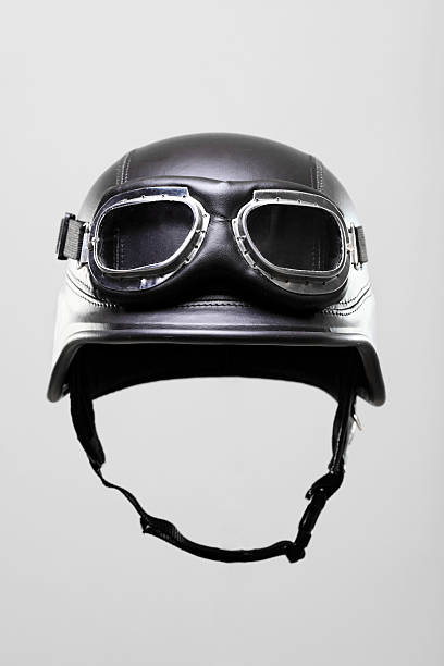 motorcycle helmet with goggles stock photo