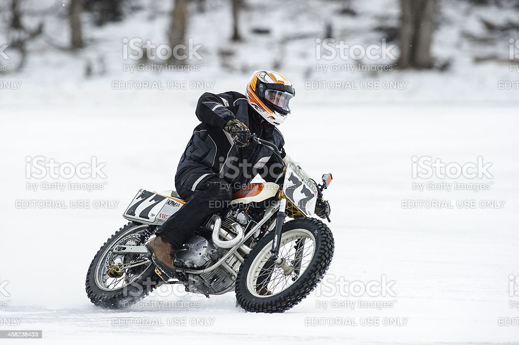Motorcycle ice racer royalty-free stock photo