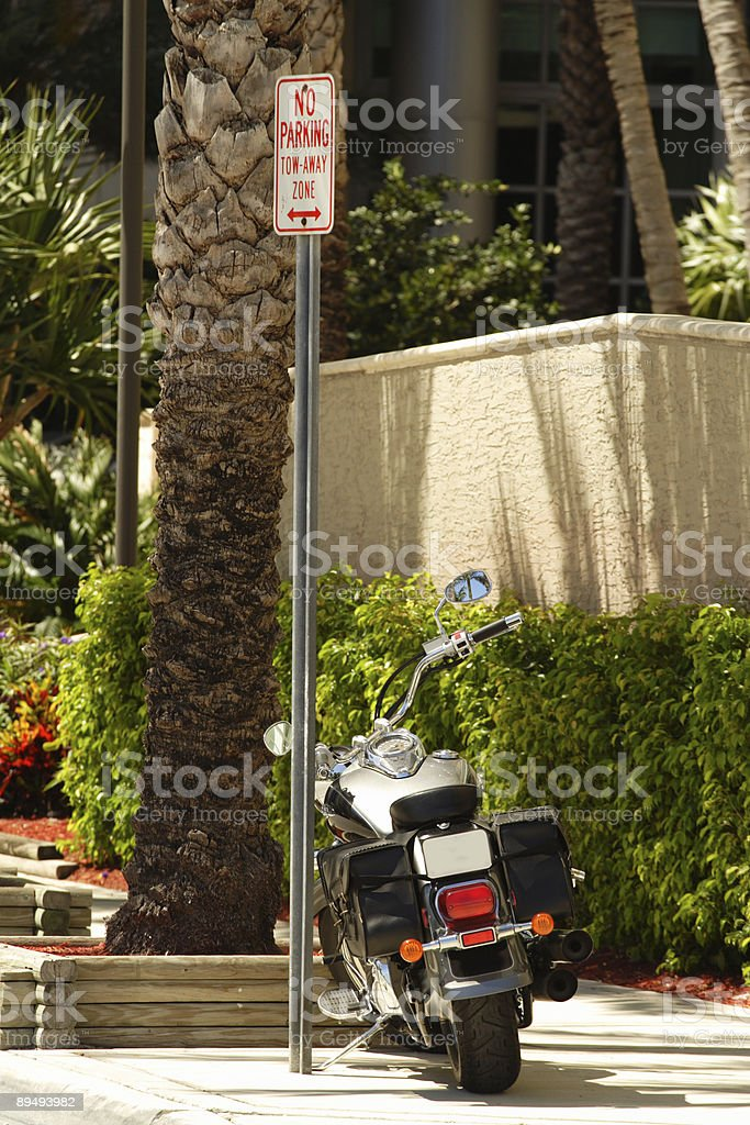 Motorcycle Illegaly Parked stock photo