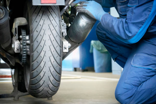 Motorcycle inspection stock photo