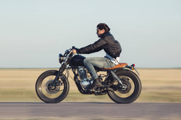 motorcycle man - motorcycle stock photos and pictures