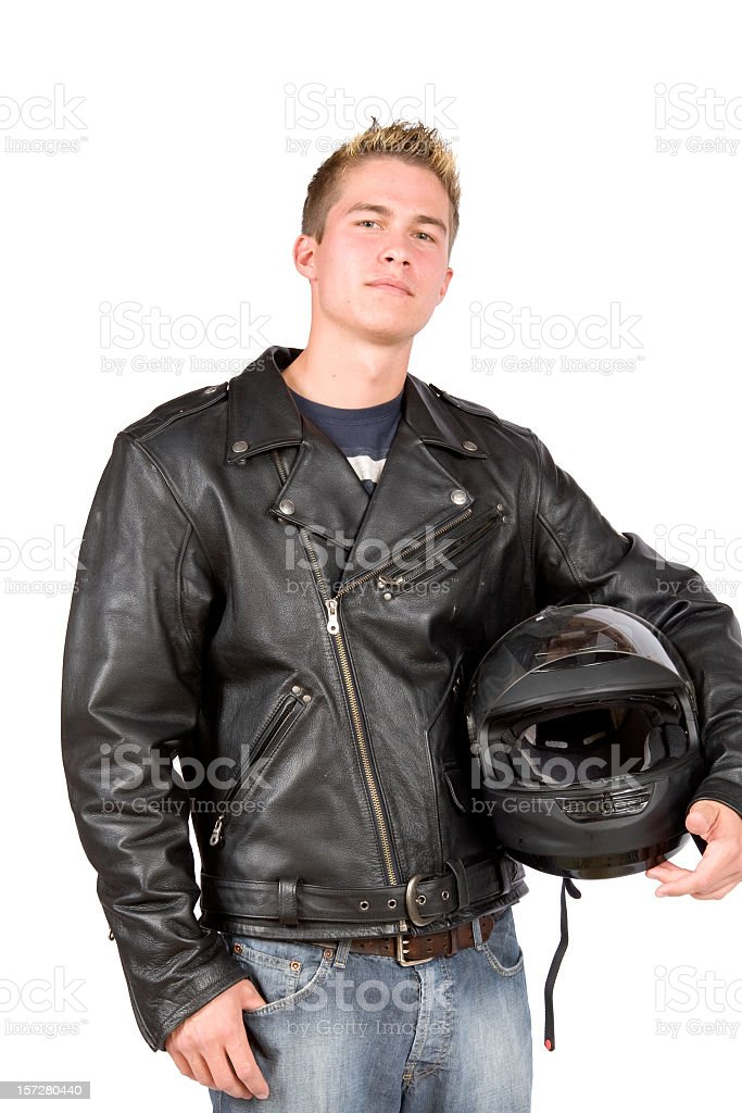 Motorcycle man with leather jacket and helmet under arm royalty-free stock photo