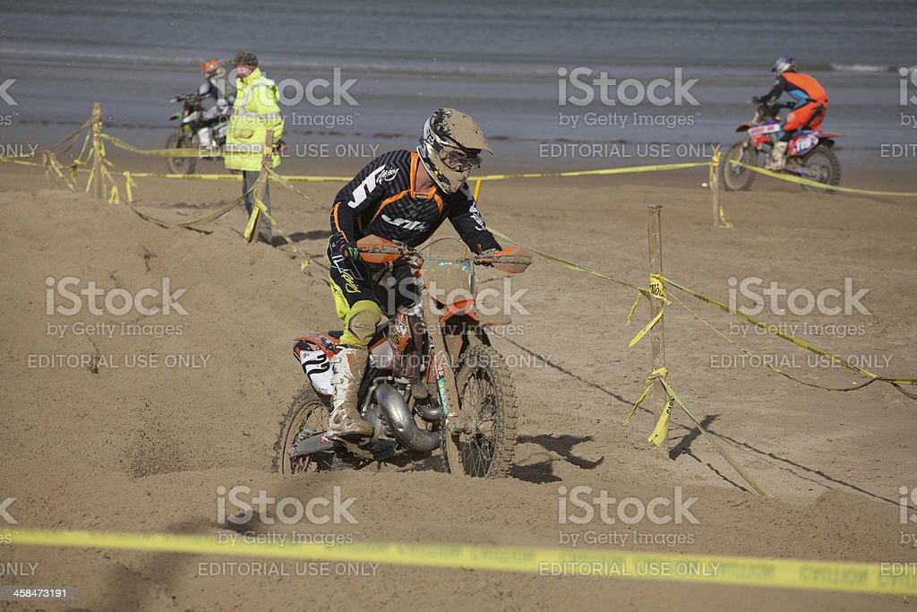 Weymouth motocross dirt bike race on the beach at Weymouth; Rider in...
