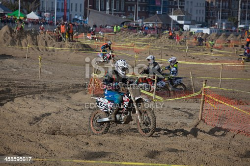 Motorcycle Motocross Dirt Bike Race On The Beach At Weymouth Stock