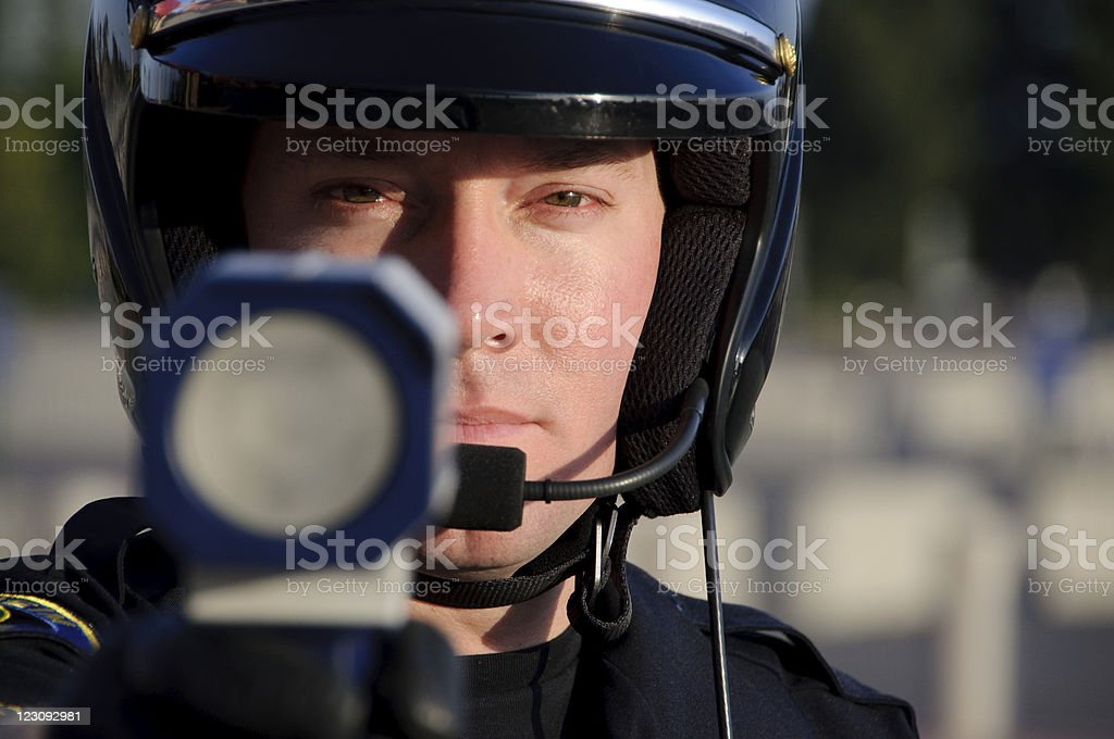 motorcycle officer stock photo