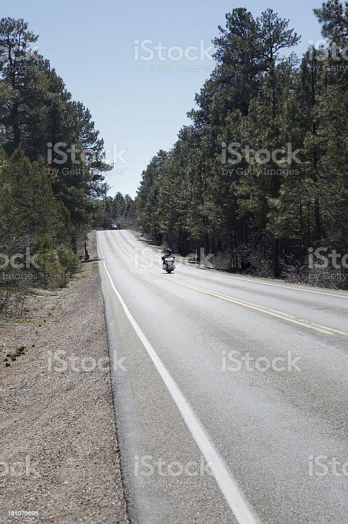 Motorcycle on Arizona road royalty-free stock photo