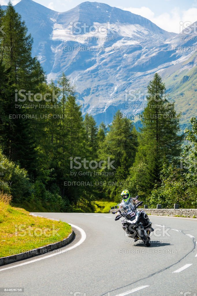 Motorcycle on Country road to Grossglockner at the european alps stock photo