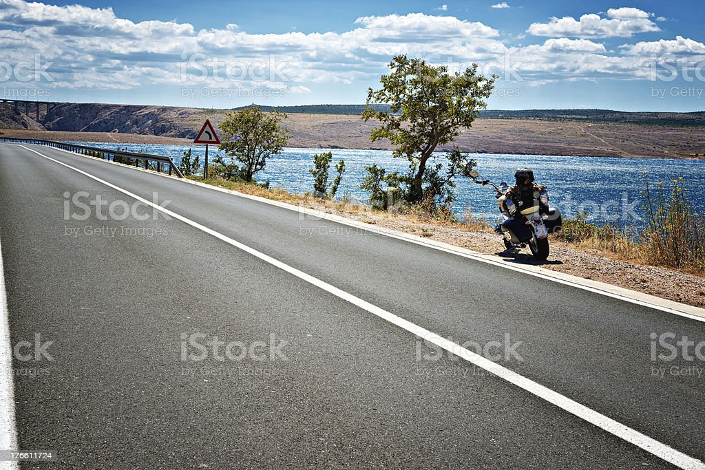 Motorcycle  on the Open Road royalty-free stock photo