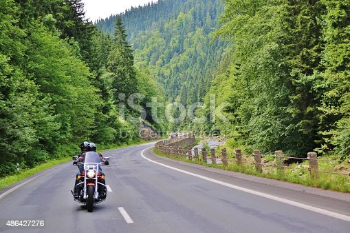 Motorcycle on the rural road of Czech Republic
