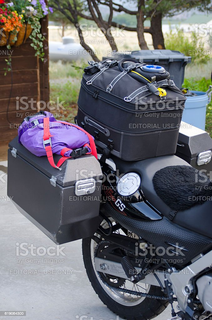 Motorcycle Packed for Long Trip - foto de stock