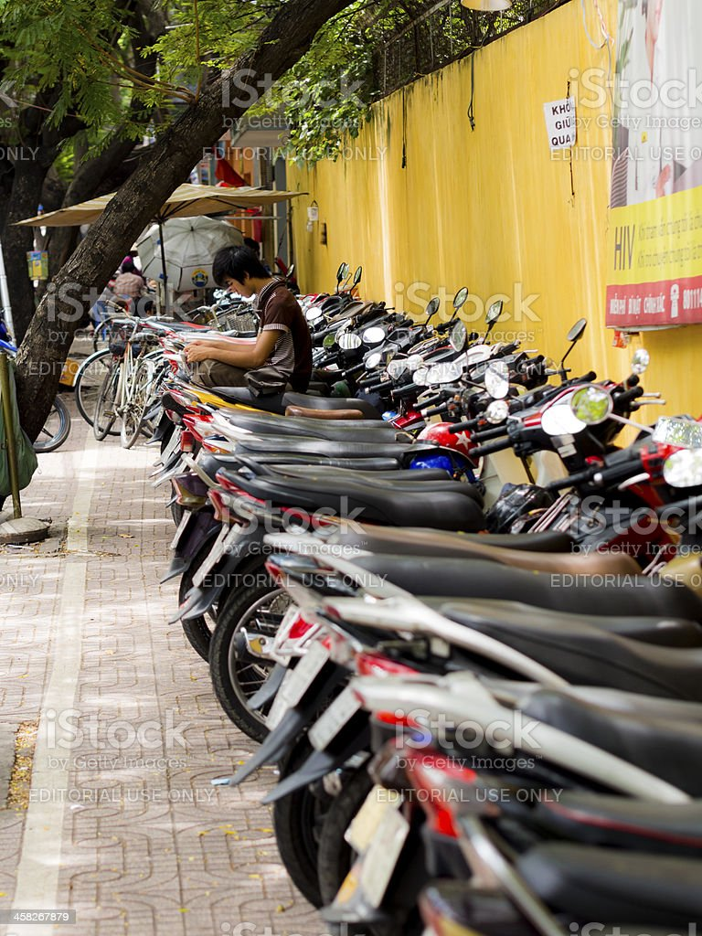 Motorcycle parking, Ho Chi Minh City, Vietnam royalty-free stock photo