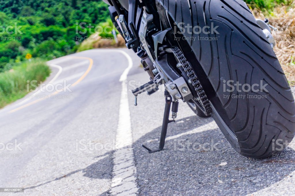 motorcycle parking on the road stock photo
