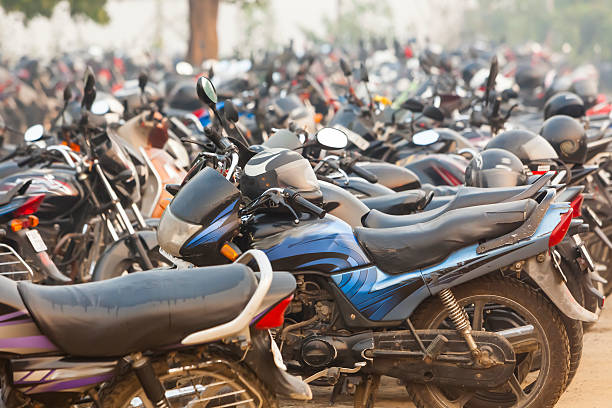 motorcycle parking space in India. stock photo