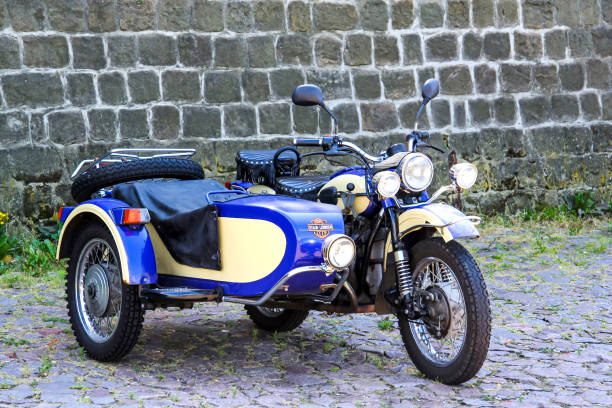 BMW motorcycle Dresden, Germany - July 20, 2014: Retro BMW motorcycle with a sidecar is parked in the city street. three wheel motorcycle stock pictures, royalty-free photos & images