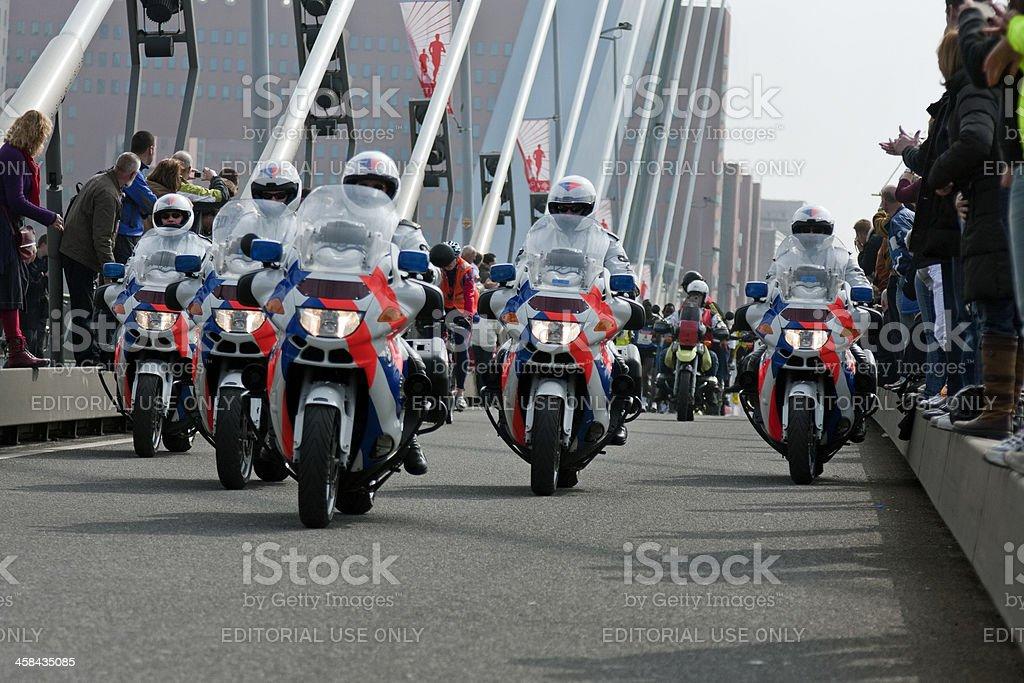 Motorcycle Police Escort leading the Rotterdam Marathon royalty-free stock photo