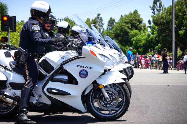 Motorcycle police stock photo