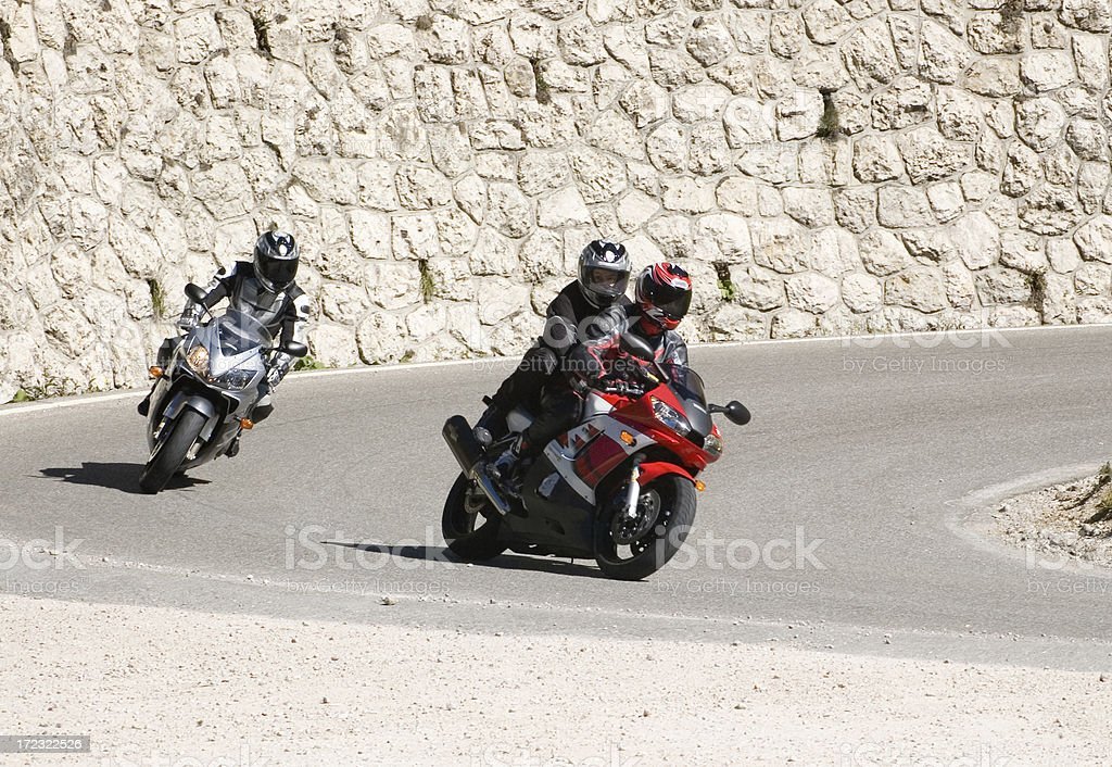 Motorcycle pursuit royalty-free stock photo