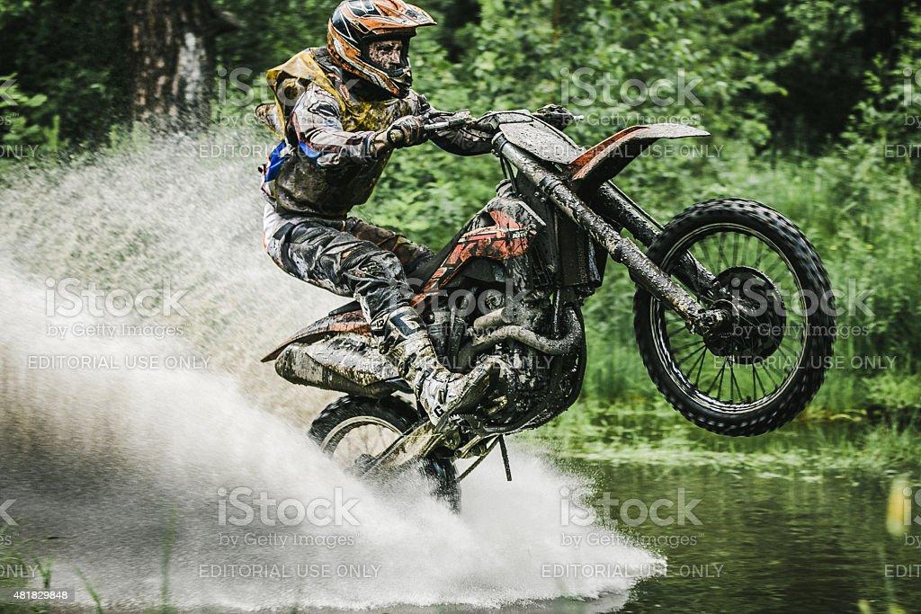motorcycle racer stock photo