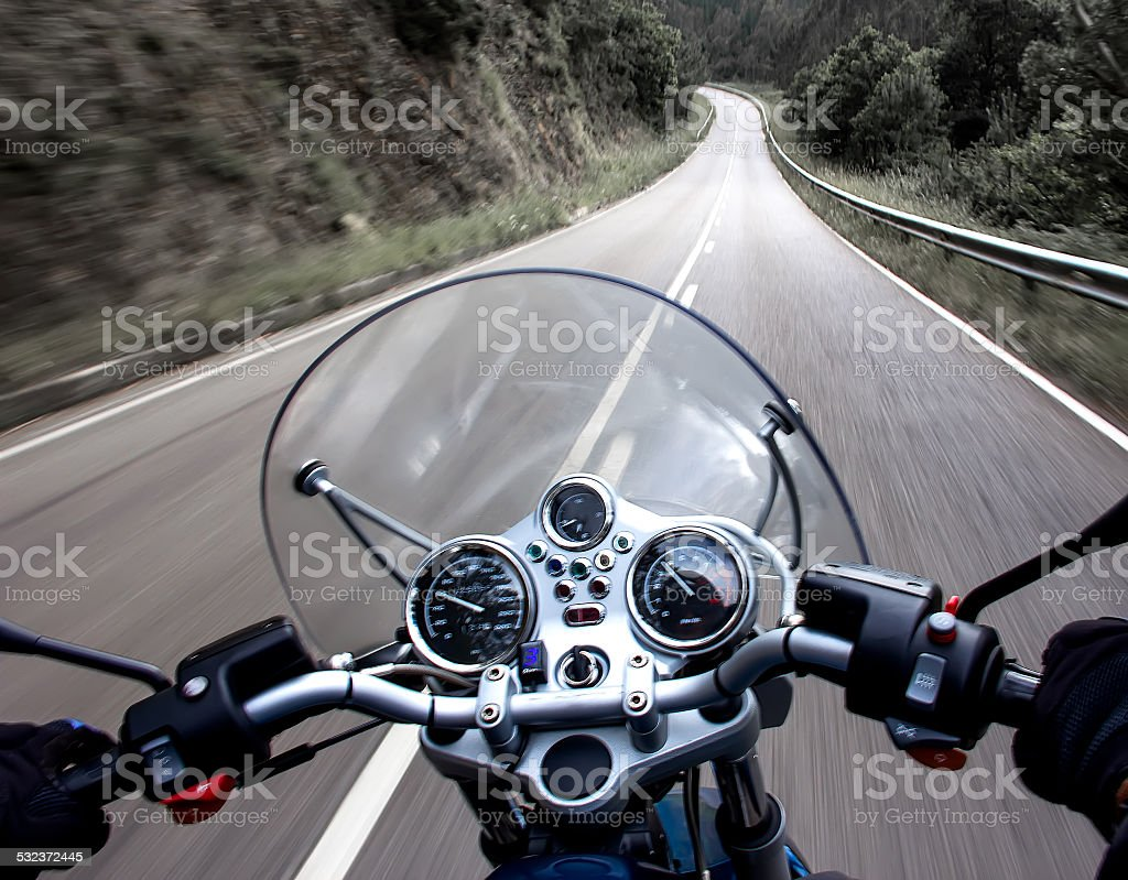Motorcycle rider view stock photo