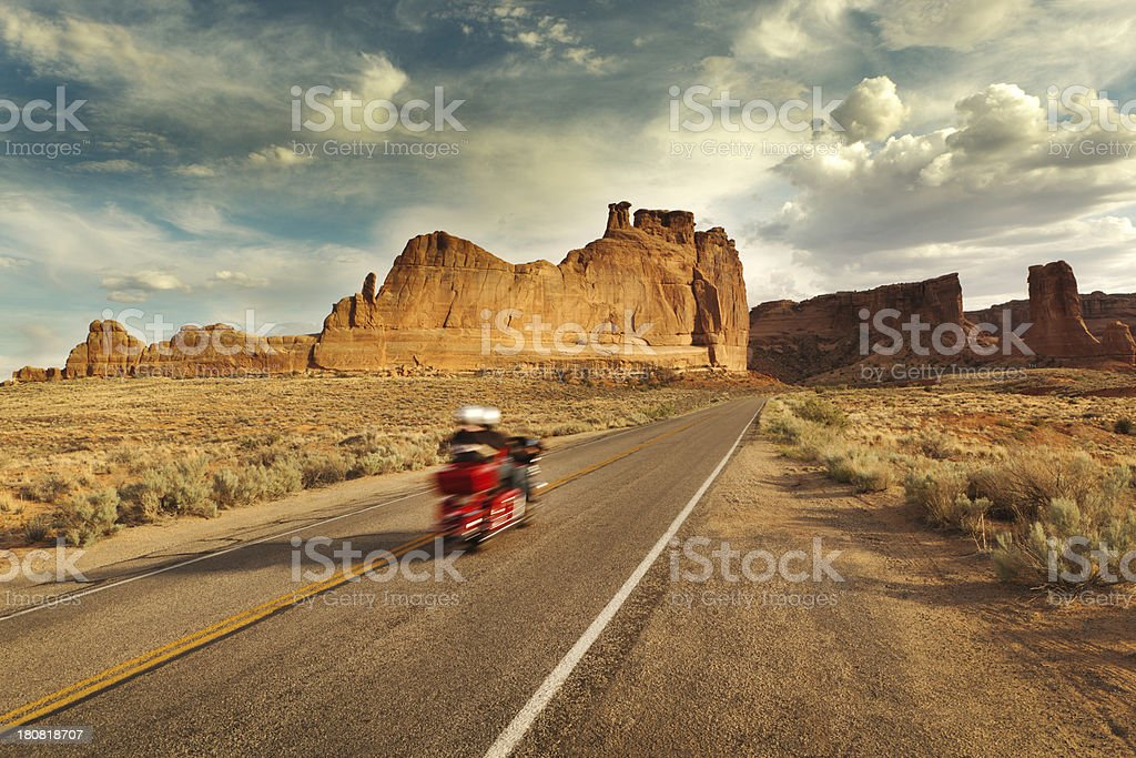 Motorcycle Road Trip Exploring American Southwest in Arches National Park royalty-free stock photo