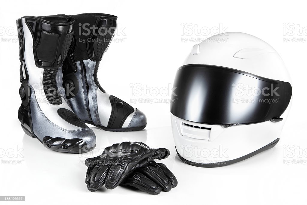 Motorcycle Safety Equipments stock photo