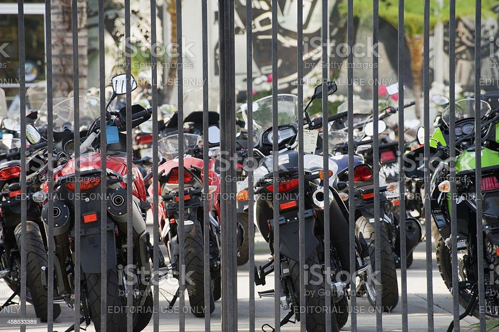 motorcycle shop stock photo