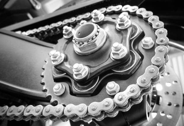 Motorcycle sprocket and chain stock photo