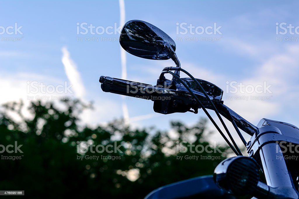 Motorcycle steering wheel with mirrors stock photo