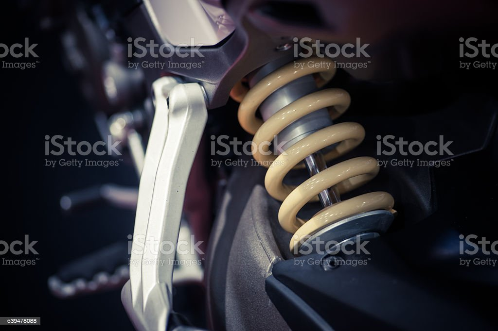 Motorcycle suspension stock photo