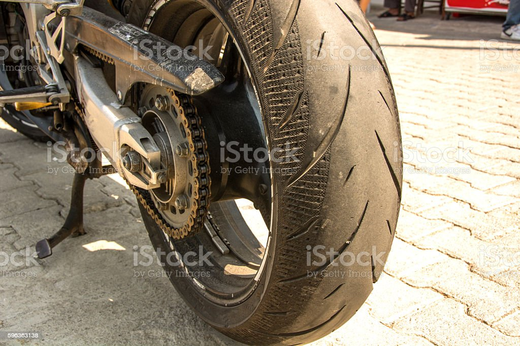 motorcycle wheel and chain stock photo