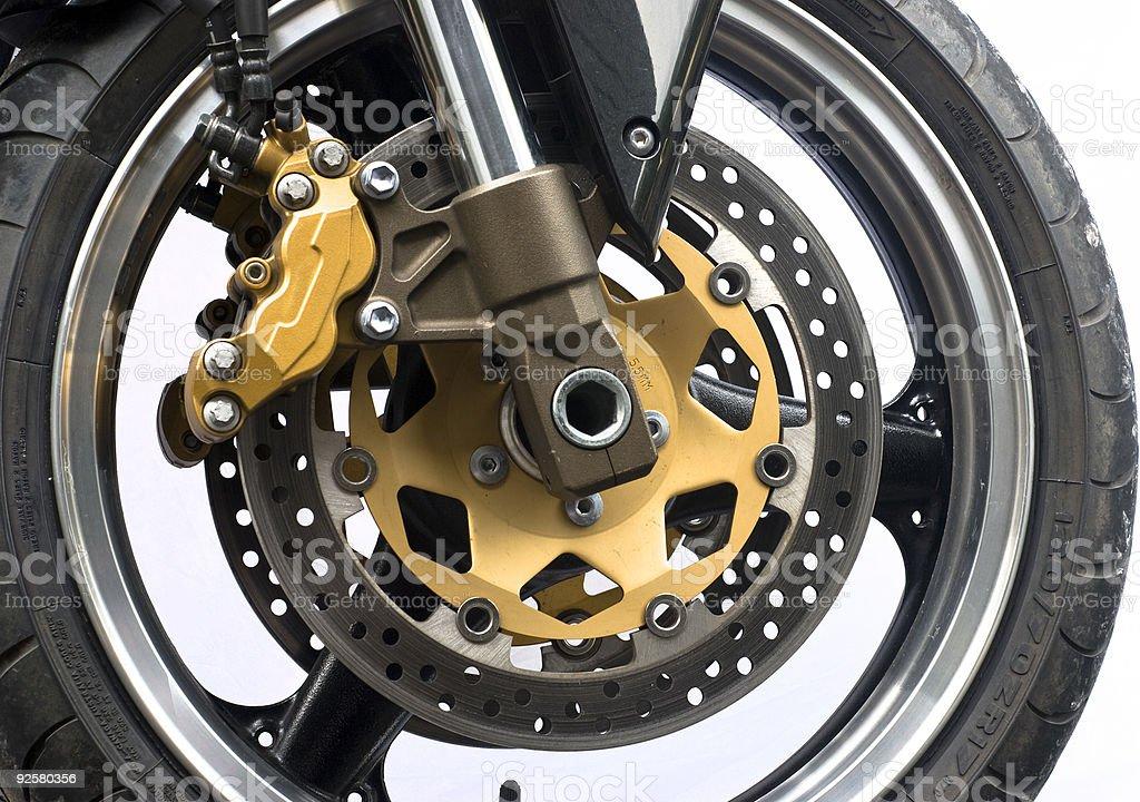 motorcycle wheel and disc brake royalty-free stock photo