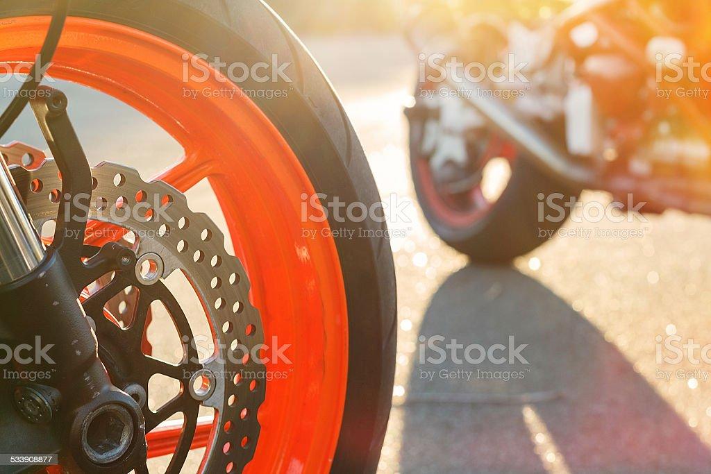 Motorcycle wheel with disc brake stock photo