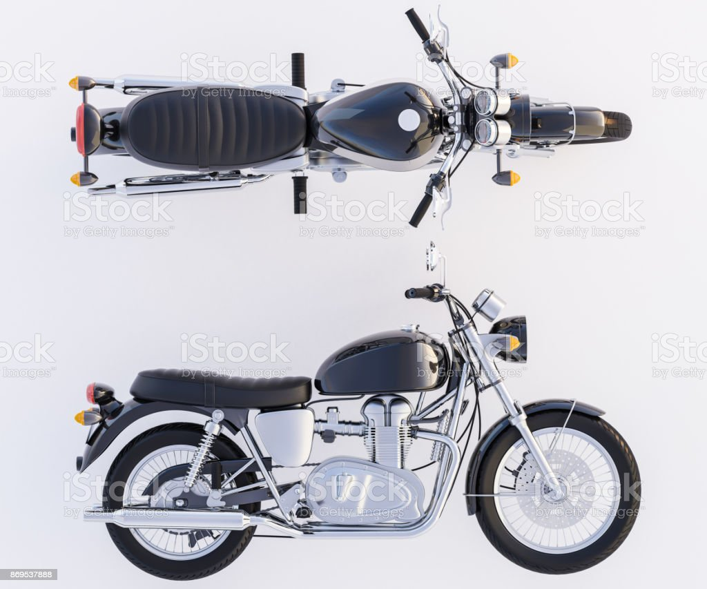 Motorcycle with a View from Side and Above stock photo