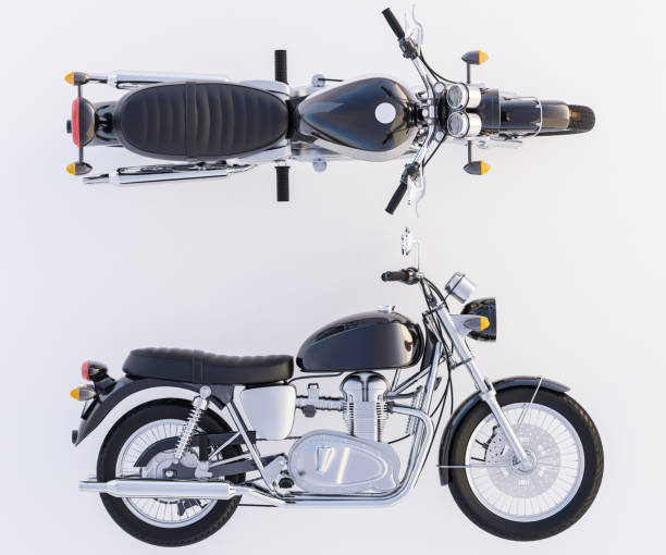 motorcycle with a view from side and above - exhaust white background imagens e fotografias de stock
