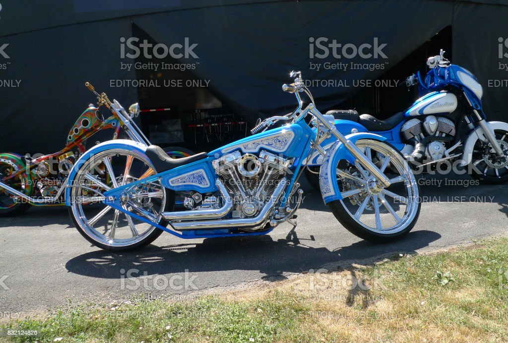 Sturgis, South Dakota - August 4, 2017: Motorcycle with blue detailed paint on display stock photo
