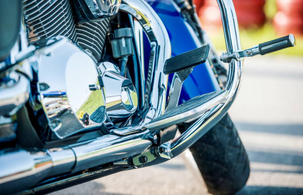 Motorcycle with nickel-plated engine, close up photo stock photo
