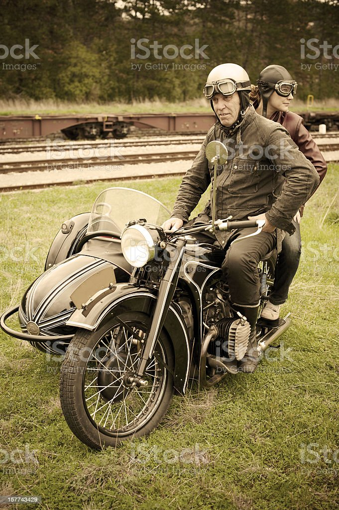 Motorcycle with Sidecar - 1935 Style royalty-free stock photo