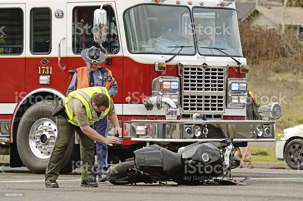Motorcycle Wreck stock photo