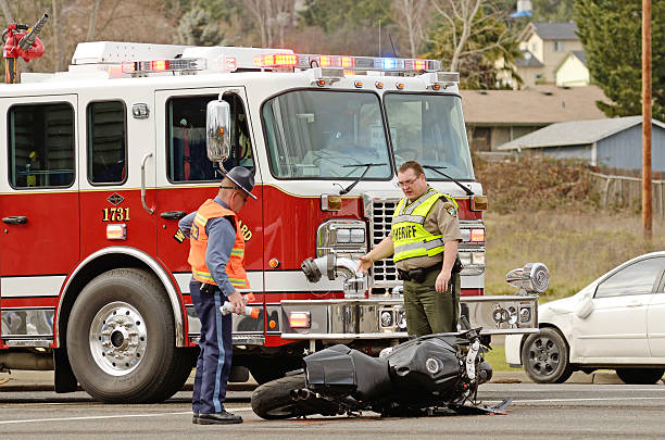Motorcycle Wreck stock photo