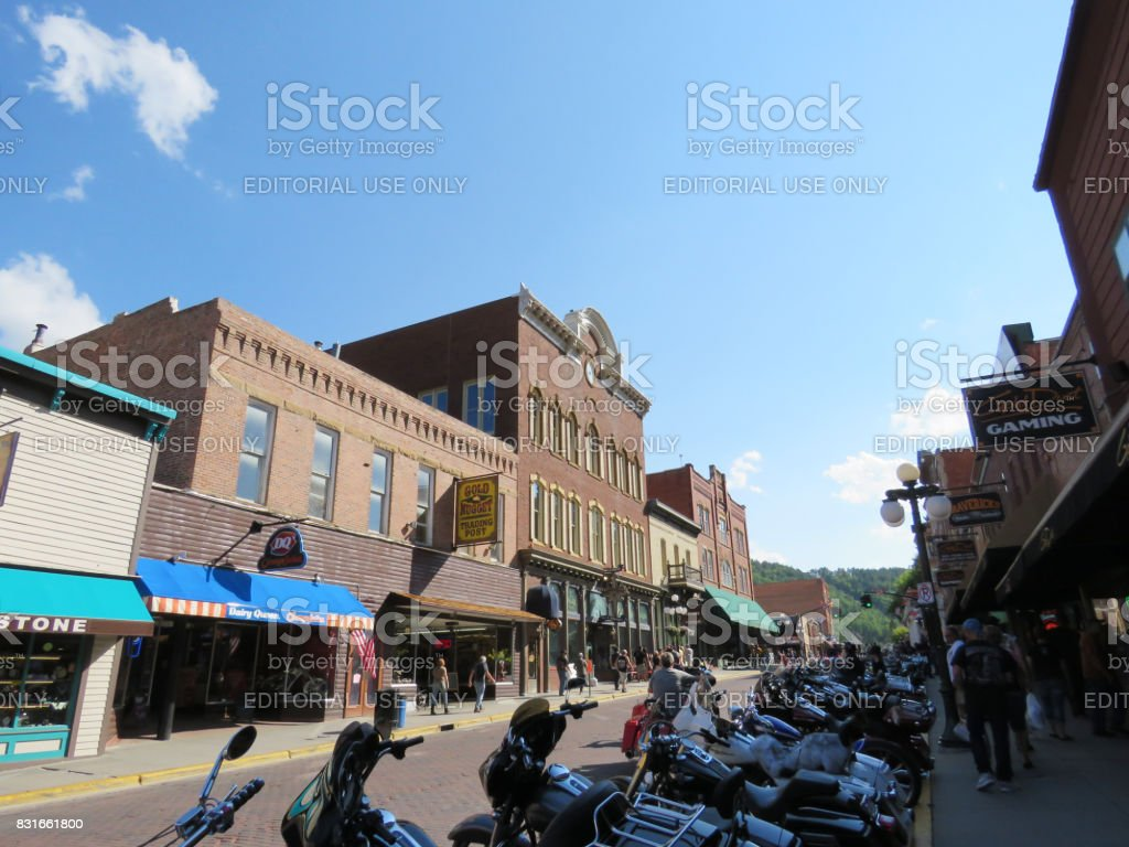 Deadwood, South Dakota, USA - August 4, 2017: Motorcycles are lined up along Main Street stock photo