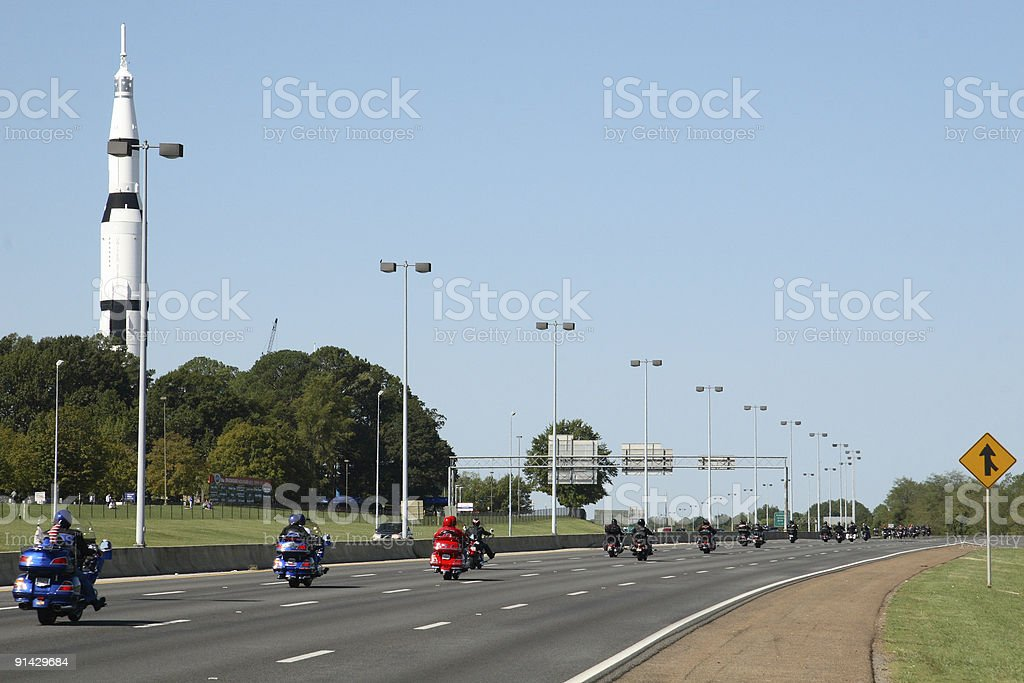 Motorcycles in convoy stock photo