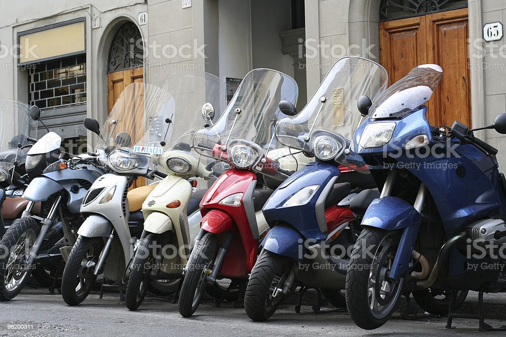 Motorcycles in line royalty-free stock photo