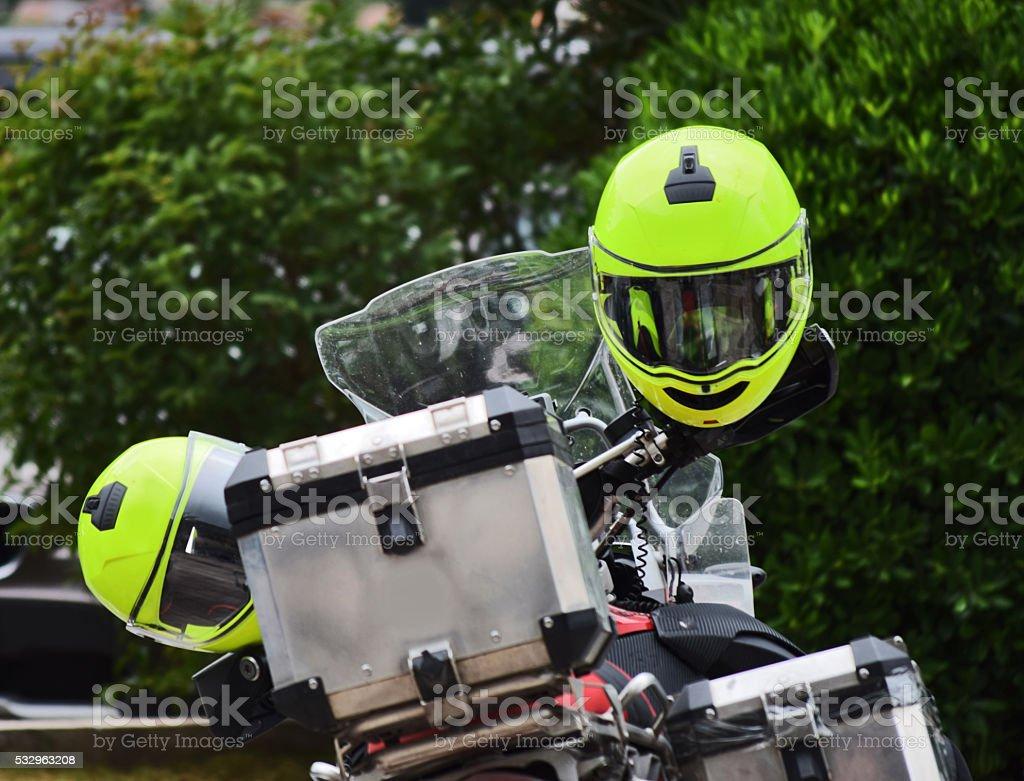 Motocicletas en el estacionamiento de - foto de stock