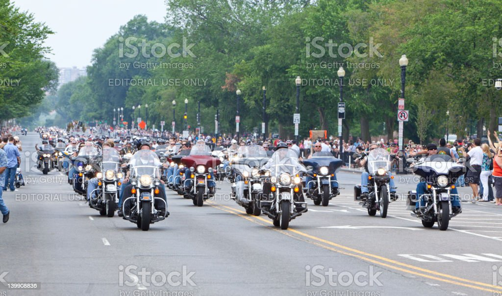 Motorcycles in Washington DC for Rolling Thunder royalty-free stock photo