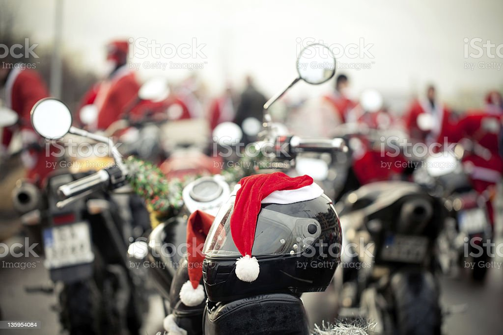 Motorcycles of Santa Claus royalty-free stock photo
