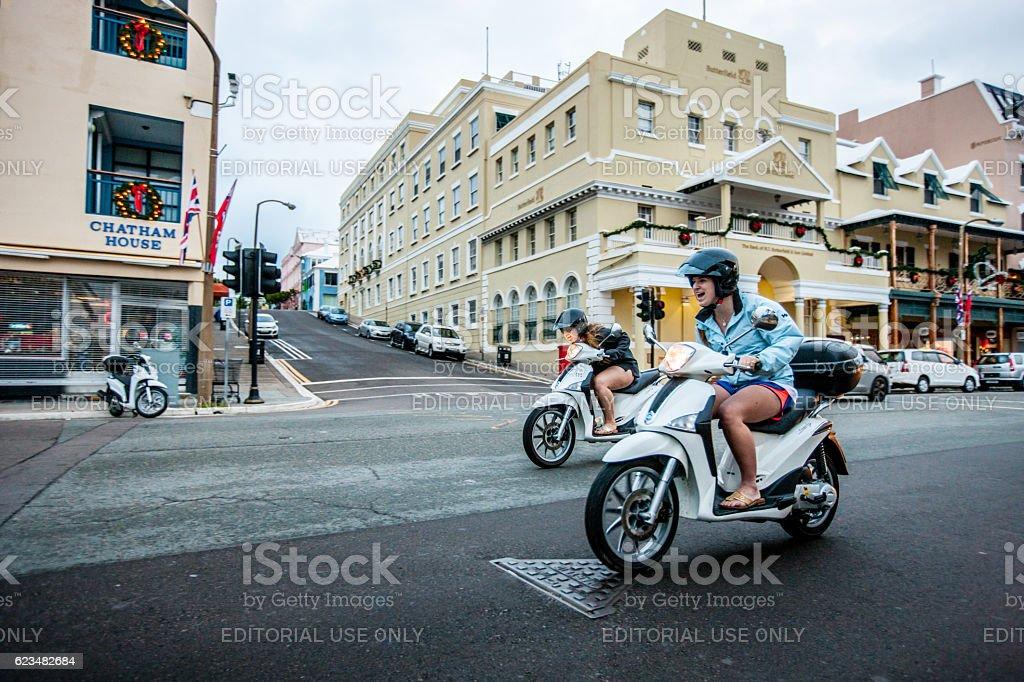 Motorcycles on Front street, Hamilton, Bermuda stock photo