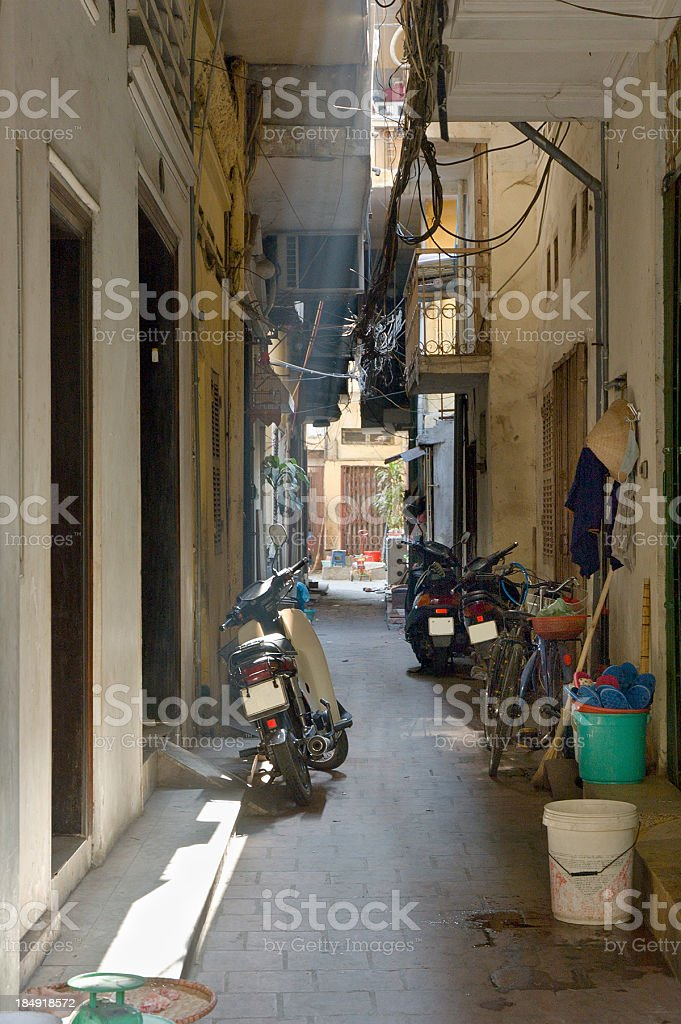 Motorcycles Parked In A Side Street stock photo